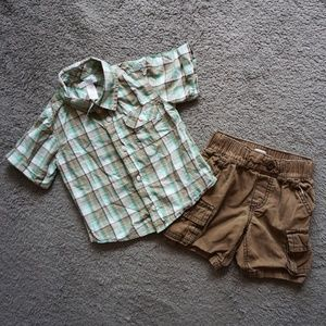 2T Toddler Boy Outfit | Plaid Shirt & Cargo Shorts